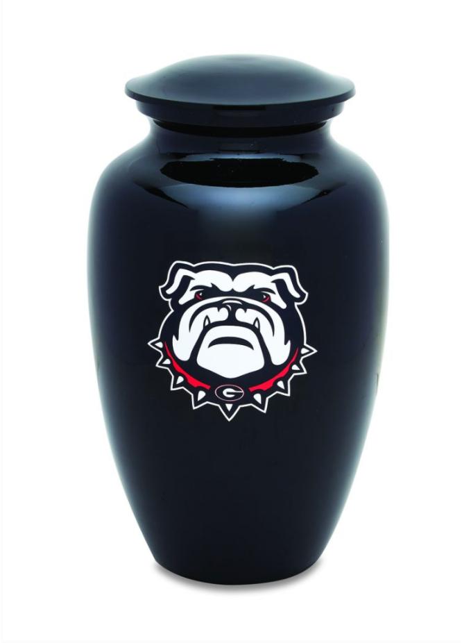 Black Urn with Bulldog