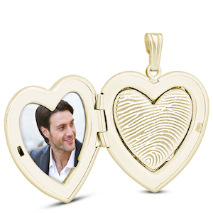 Gold Heart Necklace with Finger print