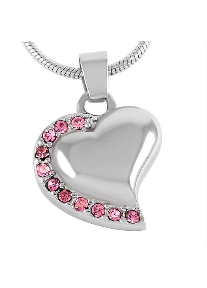 Heart Necklace with Pink Gems